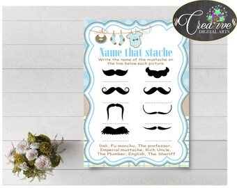 Baby Shower Blue Baby Shower Laundry Answers Imperial Mustache NAME THAT STACHE, Party Décor, Printables, Customizable Files - bc001