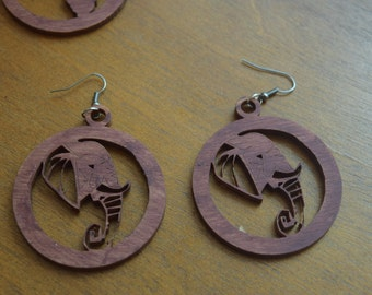 Elephant Wood Earrings