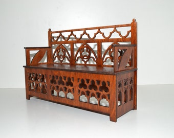 Bench for Dolls 12in 1:6 furniture Barbie FR wood stylish handwork Gothic style