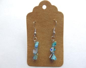 Handmade Blue Millefiori Glass Chip Earrings