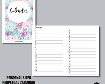 PERSONAL Sized PERPETUAL CALENDAR Travelers Notebook Insert