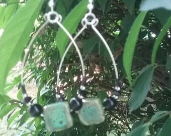 Silver/ Green Turquoise Stone Teardrop Hoops