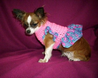 Dog Sweater XSmall Pink with Multi Tone Trim
