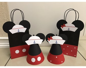 Sailor Mickey & Minnie Mouse Party Hats or Gift Bags