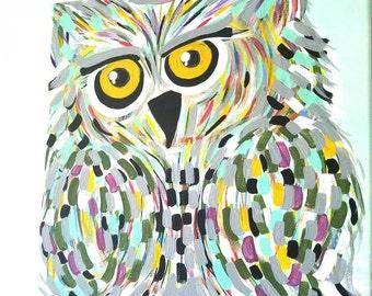 Acrylic owl painting, owl canvas painting, abstract owl painting, kids owl painting, owl painting, colorful owl painting, owl artwork
