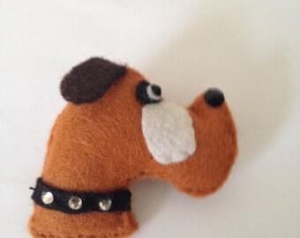 Felt Boxer Dog Brooch With Swarowski Crystals.