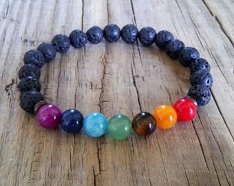 7 chakra bracelet black lava bracelet yoga bracelet lava stone bracelet energy bracelet lava rock bracelet chakra healing bracelet gift idea