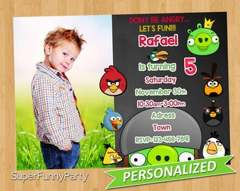 Angry Birds Invitation, Printable Angry Birds, Angry Birds Birthday, Personalized, Digital File