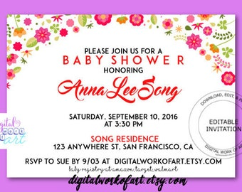 Baby Shower Invitation Template, Pink Baby Girl Invite, Newborn Baby Invitation,  Baby Girl, Digital Instant Download, Baby Shower Invite
