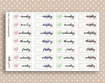 DAYS of the WEEK - Hand lettered planner stickers - Calendar Collection - Kikki K Filofax Erin Condren C1608