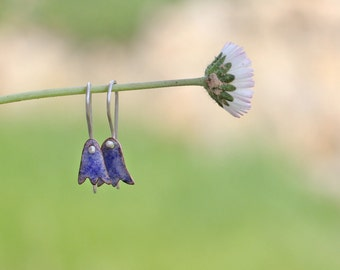 Bells - Enamel Earrings - Bells earrings - Сopper earrings - Sterling silver earrings - Bluebells