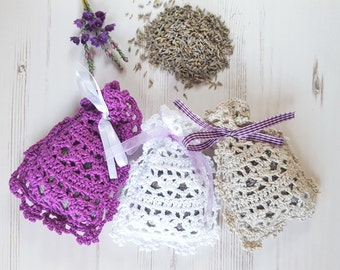 Handmade Crochet Lavender Scented Drawer Sachets 100% Cotton