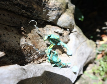 Hippocampus origami with chiseled Pearl blue earrings