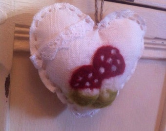 Needle felted toadstool linen heart hanging decoration/gift for home bedroom window, desk, wardrobe, cupboard etc