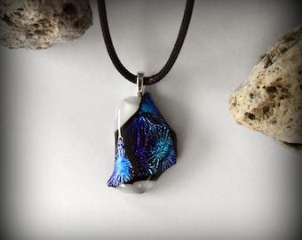 Dichroic Glass pendant/glass gem/t-fuse/blue-purple
