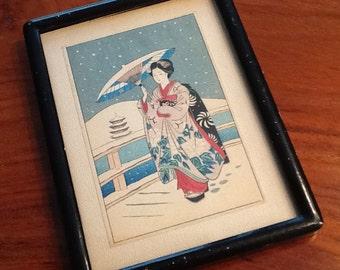 PRINT in Frame Geisha Girl in the Snow Circa 1940s