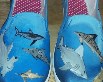Hand painted shark shoes