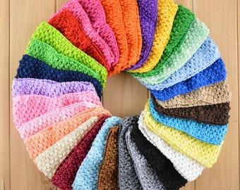 Baby Crochet headband, baby elastic headband, stretchy headbands, tutu's top headband, elastic baby headbands, 10pcs per color, HEA-11