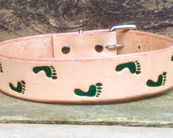 Can We Go For A Walk?  Leather Dog Collar