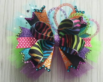 Bright colors  zebra wild  school over the top hair bow