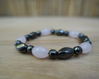 Rose Quartz and Hematite bracelet made from healing and energy crystals