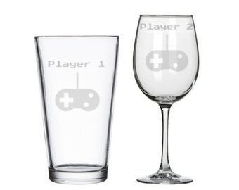 Player 1 Player 2 retro 8 bit gamers his hers etched wine/pint glasses, Player 1 Player 2, geeky wedding gift, nerd Valentine's gift, gamers