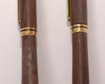 Walnut pen and pencil set