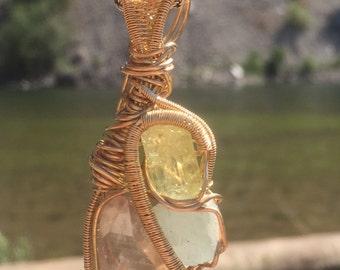 Quartz, Apetite, Aquamarine Pendant