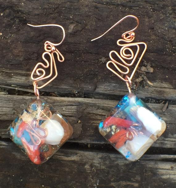 Atlantean Orgonite® earrings- Genetic Memory Cosmic Consciousness Orgone Energy Generator Earrings- Atlantis Orgone