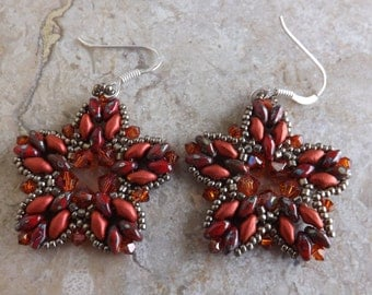 "Earrings with Superduo and bicones Swarovski ""Crystal red magma"""