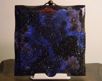 5in x 5in Hand Painted Galaxy Wall Decor
