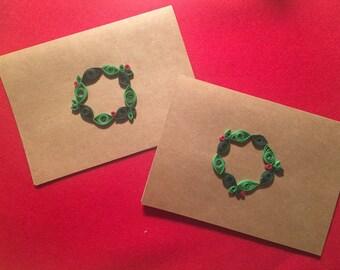 Quilled Christmas/Holiday Cards -- Set of 5