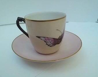 Handpainted Haviland demitasse cup and saucer