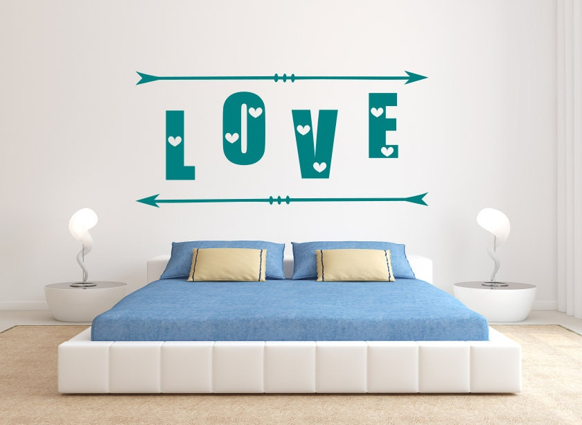 Love with arrows decal love decals love wall art for Bedroom gifts for her