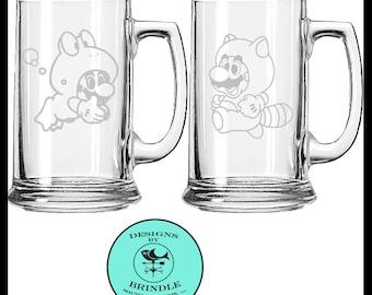 Super Mario Bros 3: Frog Mario and Tanook Mario etched mug set of TWO.