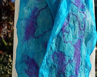 Alpaca nuno felted scarf with Alpaca yarn overlay in Teal and Purple .