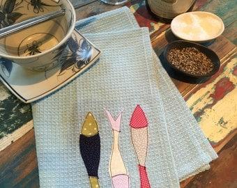 Items similar to yellow tropical fish tea towel retro for Fish tea bags