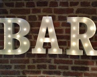 White Metal Letters Captivating Light Up Bar Sign  Etsy Inspiration