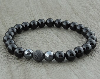 "Black Agate And Hematite With Lava ""Bead"" Stretch Bracelet"