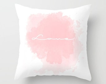 love word pillow cover - pink and white cushion cover - modern typography pillow