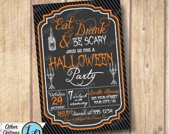 SALE!!! Eat Drink & Be Scary Halloween Invitation; Halloween Costume Party Invitation; Adult Halloween Invitation; DIY Printable Halloween