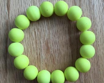 Neon Yellow Beaded Bracelet