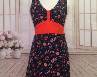 Women's apron, Auburn apron, Auburn Tigers apron, orange and blue apron, kitchen apron, cute apron, flirty apron, AmorysAprons