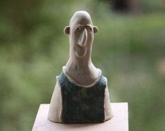 Character head made of clay, white ceramic, hand shaped, carved, painted, Frost Hardy