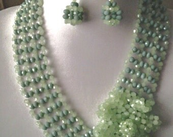 Shades of green v necklace and earrings