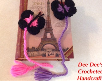 Hand Crocheted Doubled Butterfly Bookmarks, (2) Rose & Orchard