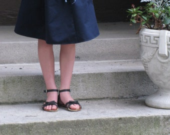 Navy twill adjustable girl's skirt - Great for school uniforms
