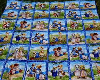 Children near the ocean playing! Blue rag quilt! 55x55 lap size