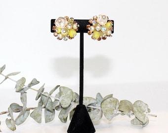 1950s VENDOME Vintage Beaded, Amber Rhinestone & Pearl Earrings