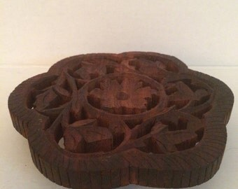 Wooden trivet hand carved vintage wooden trivet hand crafted India